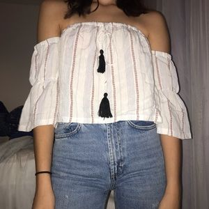 Off the shoulder cropped bohemian style shirt